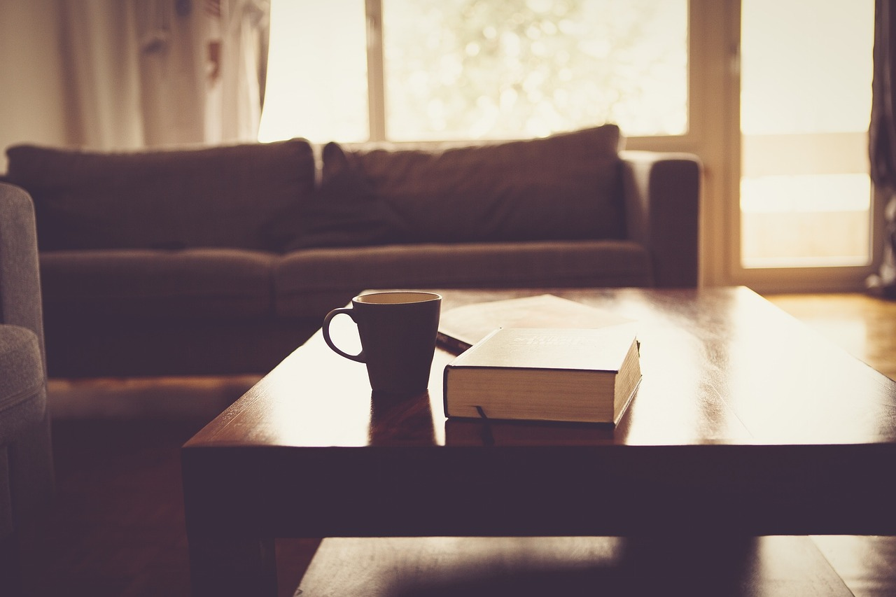 couch coffee and book
